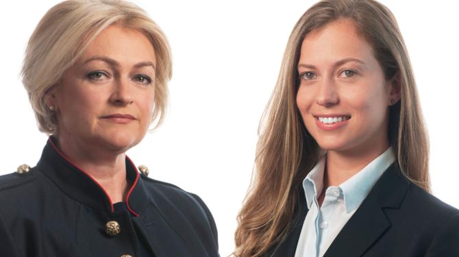 Portrait photographs of Jules Quinn (left) and Elysia-Elena Stellakis