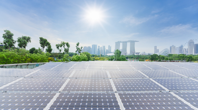 Solar panels energy field at singapore public park with blue sky, New alternative energy from natural, Singapore