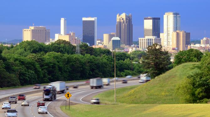 Skyline of Birmingham, Alabama from above Interstate 65