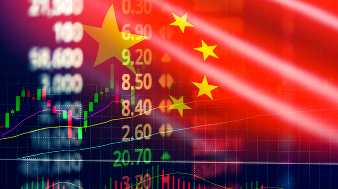 hina stock market / Shanghai stock exchange analysis forex indicator trading graph chart business growth finance money crisis economy and Trade war with China flag