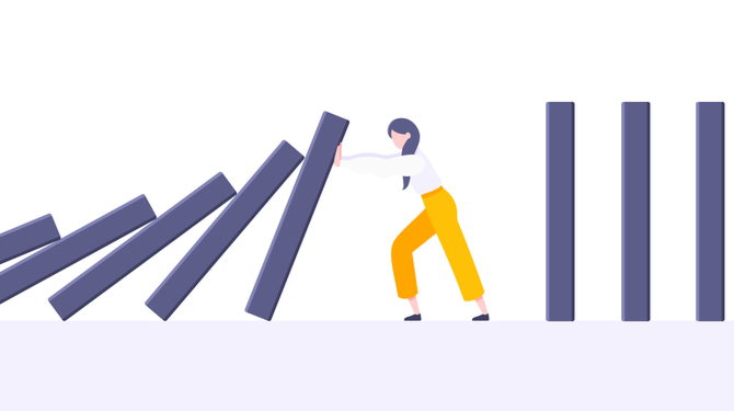 Business resilience or domino effect metaphor vector illustration concept. Adult young businesswoman pushing falling domino line business concept of problem solving and stopping chain reaction.