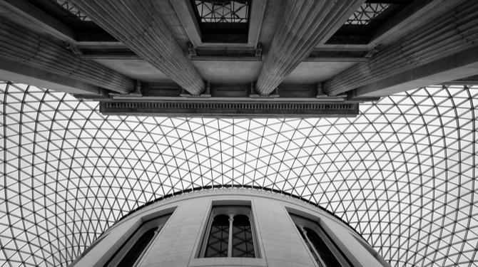 Looking up, British Museum, London, UK.