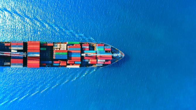 Bird's eye image of a cargo ship in the ocean