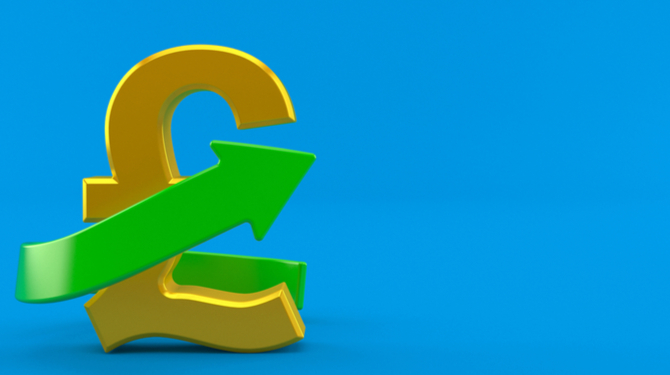 Pound currency with green arrow isolated on blue background. 3d illustration