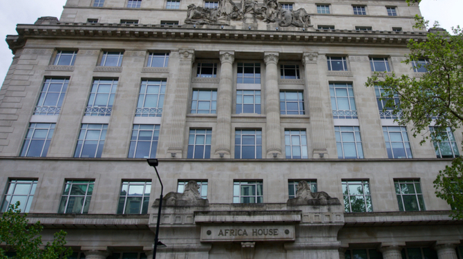 Low angle view of Africa House exterior on Kingsway, Holborn, London  S