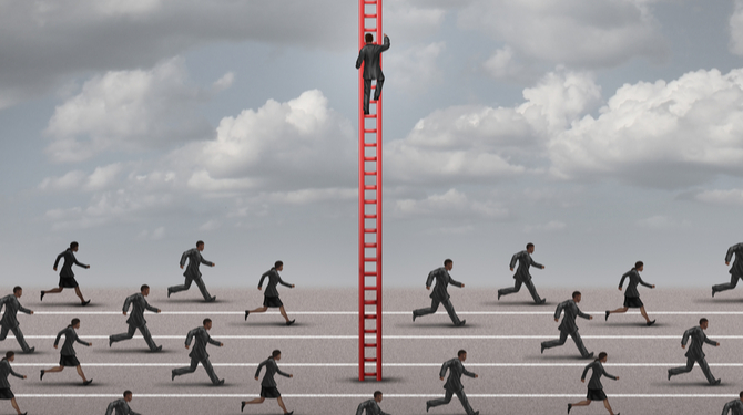 Against the current business concept as a metaphor for being different and innovative solutions to a competition as a group of runners in one direction and one business person going up a ladder.  L
