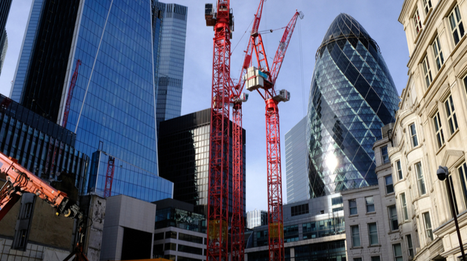 A view of the City of London from Fenchurch Street. The Gherkin, 52-54 Lime Street (The Scalpel) along with the construction of the new 40 Leadenhall Street building.