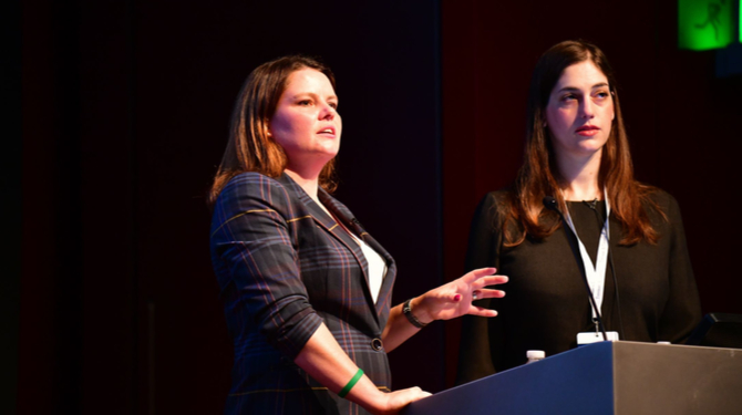 Photograph of Claire Jones and Yael Shalem Givon speaking at the Luxury Law Summit Europe