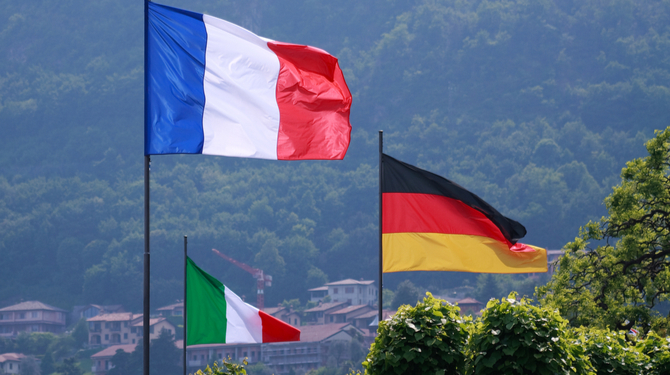 Flags Italian, German and French