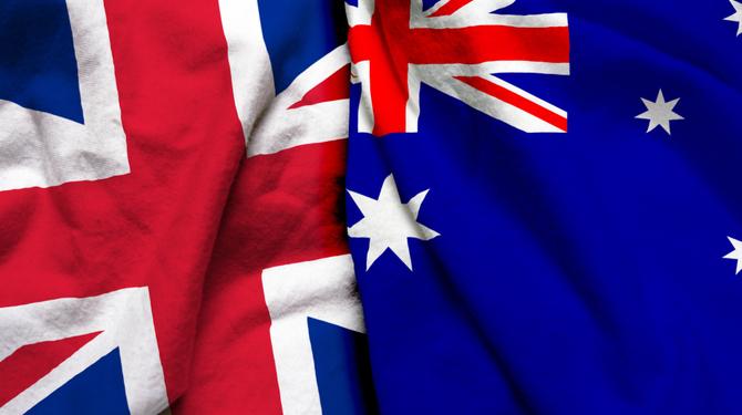England and Australia flag together