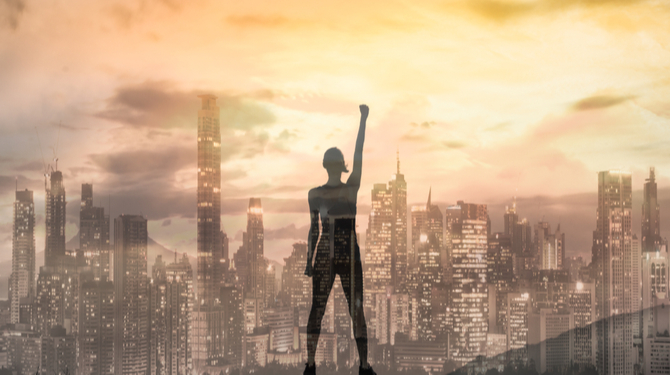 Strong confident woman in the city with her fist up in the air. Double exposure