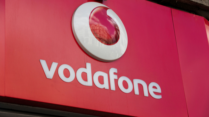 Vodafone telecoms store front on Oxford Street in central London.
