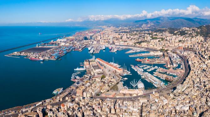 Genoa port aerial panoramic view. Genoa or Genova is the capital of Liguria region in Italy
