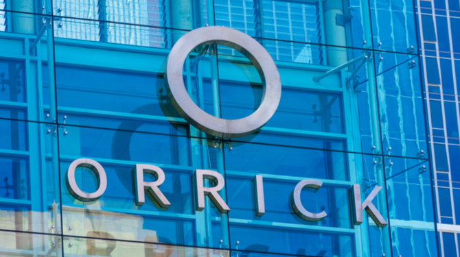 Image of Orrick name on the side of a skyscraper