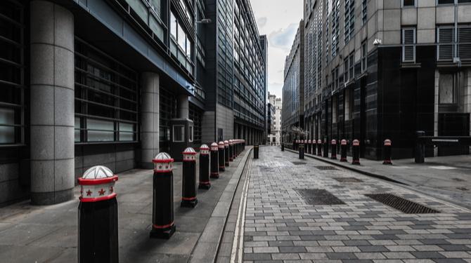 Empty City of London street during lockdown
