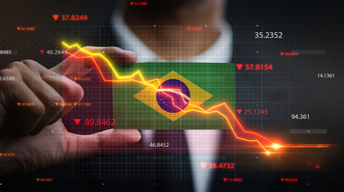 Graph Falling Down in Front Of Brazil Flag. Crisis Concept