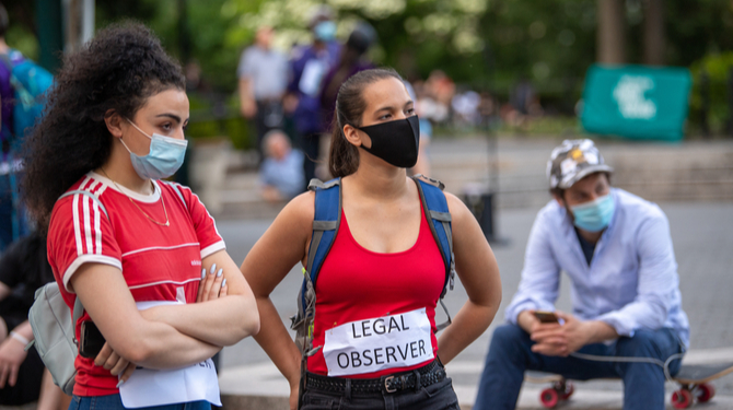 NEW YORK, NY - MAY 30, 2020: Legal observers are seen on the fourth straight day of protests against the death of George Floyd