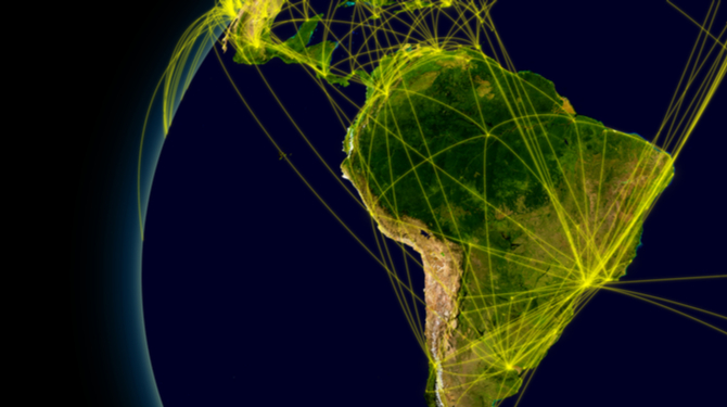 Latin America viewed from space with connections representing main air traffic routes. Elements of this image furnished by NASA.