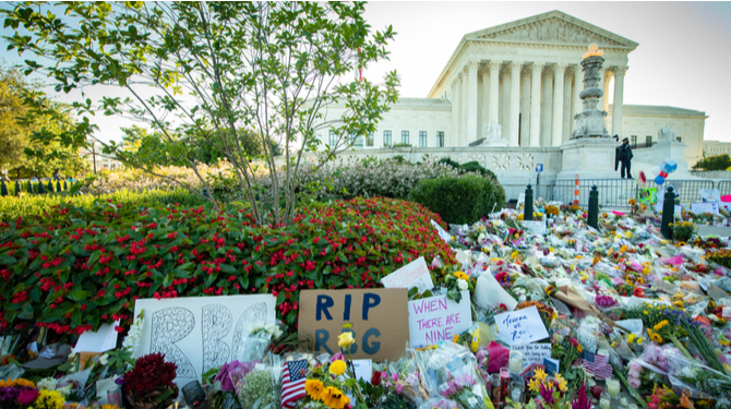 Notes and flowers are left at the Supreme Court of the United States in memory of late Supreme Court Justice Ruth Bader Ginsburg in Washington DC on September 20, 2020