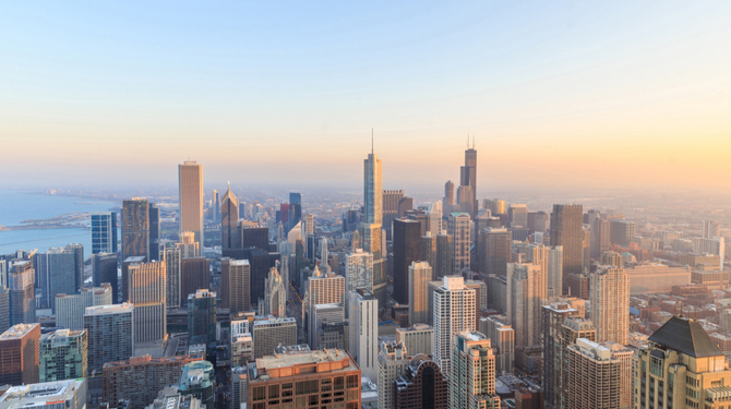 Aerial view of Chicago downtown at sunset from high above