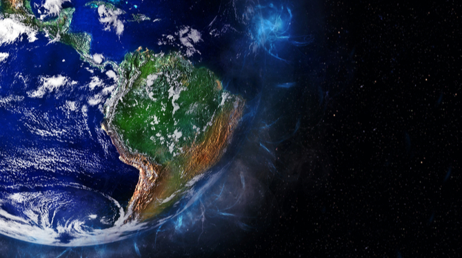 Photograph of Latin America from space