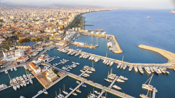 Aerial view of the beautiful Marina in Limassol city in Cyprus