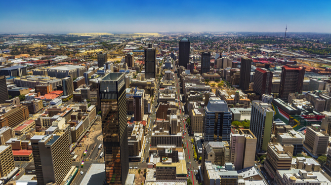 Johannesburg cityscape (west part) seen from the Carlton Center viewing deck