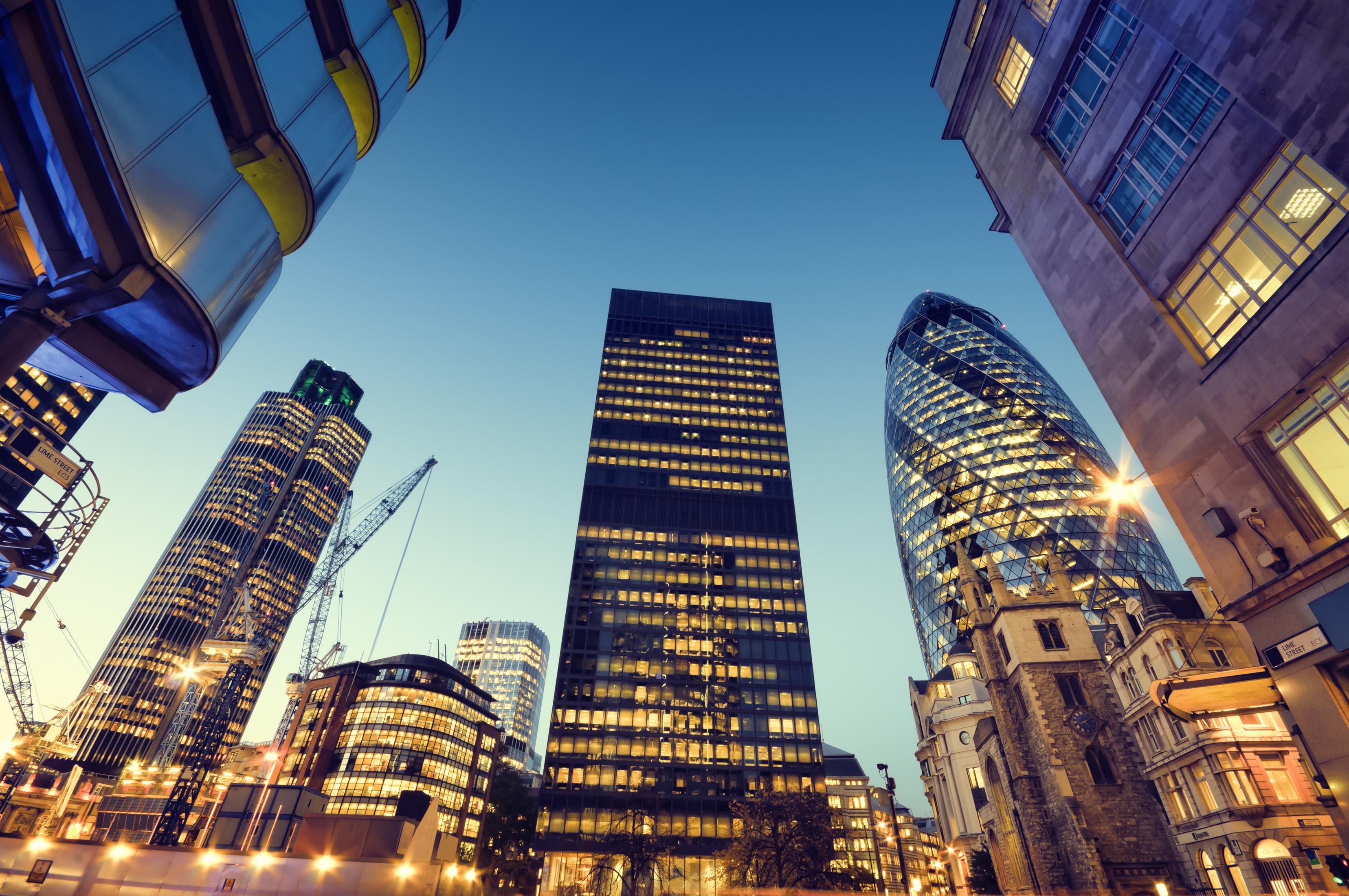 View of City of London sky scrapers