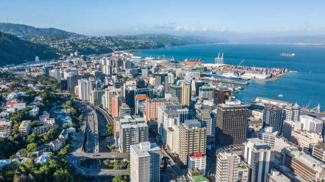 Wellington City Central Business District Aerial Point Of View